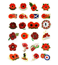Lest We Forget Poppy Metal Pin Badges Brooch Crystal Remembrance Collectible UK
