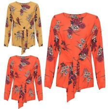 Womens Tied Front Floral Print Crepe Long Sleeve Top Ladies Wedding Party Blouse