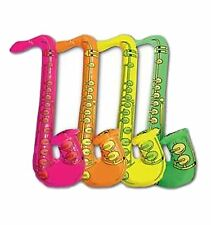 Kids Assorted Colours Inflatable Saxophone Blow Up 75cm Toys Accessory Pack of 4