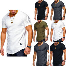 hombre manga corta Camisa slim FITNESS GYM Muscular Deporte Casual Suéter