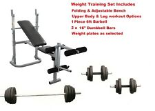 Weight Training Bench + Barbell + Dumbbells Complete Multi Gym Workout Set