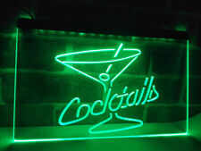 Cocktail Drink Glass Fan LED Neon Light Sign Plate Flag Bar Club Pub Coctail