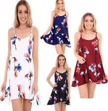 Womens Floral Printed Cami Floaty Skater Dress Ladies Strappy Flared Summer Top