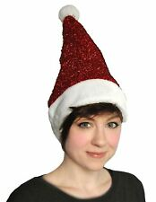 Womens Lurex Sparkle Red Santa Hat Ladies Christmas Fancy Party Accessory Hat