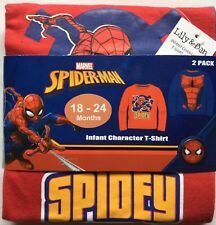 Baby Boy 2 Pack Long Sleeve T Shirts with Spiderman detail 1 Red & 1 Blue