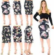 Womens Floral Printed High Waist Pencil Skirt Ladies Fancy Party Wear Midi Skirt