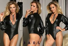 NEW SEXY LADY BLACK FAUX LEATHER BUBBLE SLEEVE TEDDY BODYSUIT TOP SIZE 12-22 UK