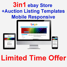 eBay Store Shop Design + 2 Auction Listing Templates Mobile Responsive 2018 HTML