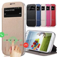 Luxury no Smart Front Window View Leather Flip Case For samsung galaxy s4 s5 s6