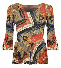 Womens Baroque Scarf Print Long Flared Bell Sleeve Pleated Frill Top Plus Size