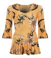 Womens Floral Print Long Flared Bell Sleeve Pleated Frill Top Plus Size Blouse