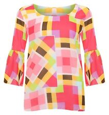 Womens Multi Square Print Sheer Chiffon Top Ladies Bell Sleeve Plus Size Blouse