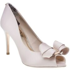 New Womens Ted Baker Pink Nude Vylett Textile Shoes High Heels Slip On