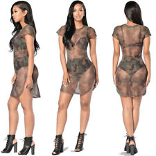 Fashion Womens Sexy Bodycon Camouflage Gauze See-through Sheer Evening Dress New