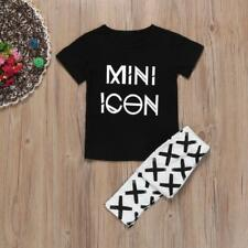 Newborn Baby Girls Letter T shirt Tops Pants Leggings Outfits 2PCS Clothes Set
