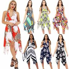 Womens Printed Halter Neck Backless Hanky Dress Ladies Sleeveless Flared Dress