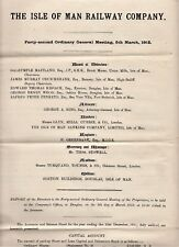 IMR Isle of Man Railway Annual Reports & Accounts 1870s on reports of meetings,