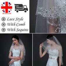 2T Sequins Beaded Edge Wedding Dress Bridal Elbow Veil with Comb 2 Layers UK D
