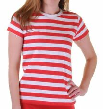 Womens Short Sleeve Red And White Stripes T-Shirt Ladies Casual Wear Fancy Top