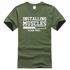 Installing Muscles Men's Casual T shirt top or Gym Workout Fitness