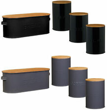Russellhobb Oval Enamel Bread Bin & Tea,Coffee,Sugar Storage Set With Bamboo Lid