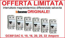 Interruttore magnetotermico differenziale salvavita BTICINO ORIGINALE GC8813AC