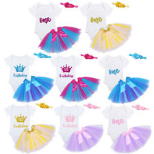 Baby Girls First 1st Birthday Tutu Skirt Dress Romper Cake Party Headband Outfit