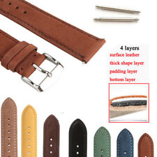 Genuine Suede Leather Watch Strap Band Teacher Stainless Steel Buckle and Bars