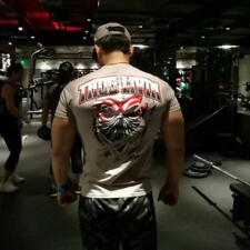 Men's Thug Livin Gym Fitness Bodybuilding Body Fit T-shirt Top Double Printed