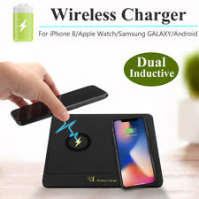 Dual 2 Qi Wireless Charger Transmitter Charging Dock Pad for iPhone X Samsung S9