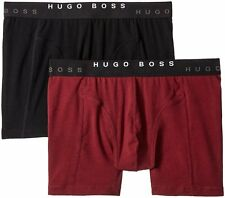 BOSS HUGO BOSS 2-PACK COTTON STRETCH CYCLIST BOXER TRUNKS. BLACK & BURGUNDY, NEW