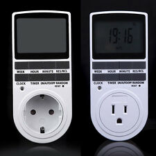 7 Day Digital LCD Electronic EU Plug-in Programmable 12/24Hr Timer Switch Socket
