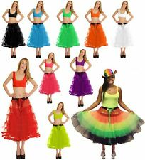 Womens 5 Tier Petticoat TUTU Skirt With Ribbon Ladies Hen Night Stag Party Skirt