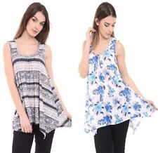 Ladies Scoop Neck Printed Flared Tunic Top Womens Sleeveless Swing Hanky Hem Top