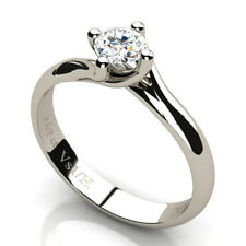 0.40 CT Round Diamond Solitaire Engagement Ring 18K White Gold H Clarity VS1 NEW