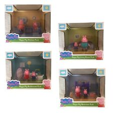 Peppa Pig Mini Boxed Playset & Toy Figure Living Room, Bedroom, Bathroom,Kitchen