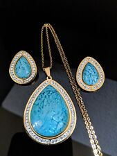 Chunky Gold Teardrop Turquoise Resin Crystal Necklace Earring Christmas Gift Set