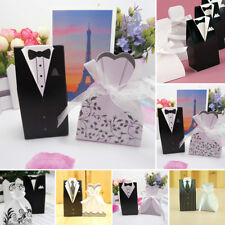 50/100Pcs TUXEDO DRESS Bridal Groom Wedding Favor Candy Paper Gift Box Container