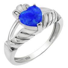 donna argento sterling 925 FINTO Blu Opale Claddagh 7mm anello