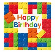 Kids Building Block Happy Birthday Lunch Napkin Adult Party Accessory Pack Of 16
