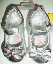 Baby Girl Silver Pram Shoes with Bow detail