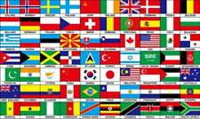 World Country Flags Embroidered Sew On Iron On Rectangular Badge Patch Applique