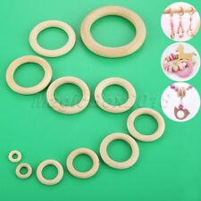1 Set 11 Size Natural Wooden Teething Rings Round DIY Necklace Bracelet Pendant