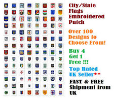 National Country CITY Flag Embroidered Sew Iron On Shield Badge Patch Appliques