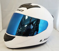 LS2 FF352 Rookie Casco Integrale Moto BIANCO IN BLU IRIDIUM VISIERA
