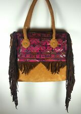 Leather Suede Embroidered Handbag with Fringes Boho Gipsy Indie Hippy Hippie
