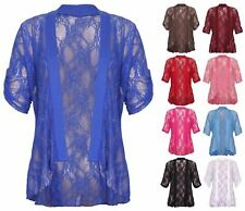 Women Floral Lace Waterfall Cardigan Ladies Turn up Short Sleeve Fancy Party Top