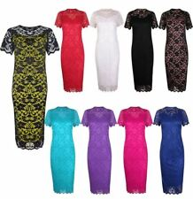 Ladies Short Sleeve Floral Lace Bodycon Midi Dress Womens Round Neck Party Dress