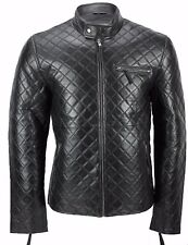 Mens Real Leather Black Smart Casual Quilted Biker Style Bomber Jacket ONLY M