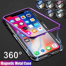 Magnetic Adsorption Metal Case Back Tempered Glass Cover For iPhone X 8 7 6 Plus